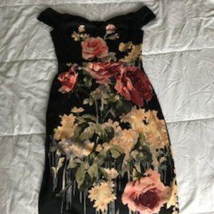 ASOS Navy Floral Off the Shoulder Dress